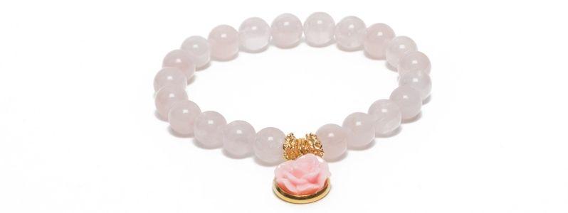 Armband mit Blumencabochon Rosenquarz