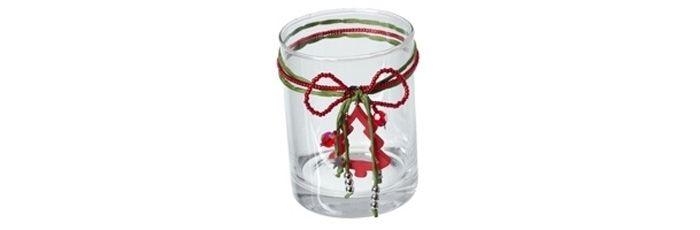 Kerzenglas Tannbaum rot