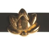 Metallperle Mini-Slider Lotus, vergoldet, 8,5 x 9,5 mm, Durchmesser Fädelöffnung:  5,2 x 2,0 m