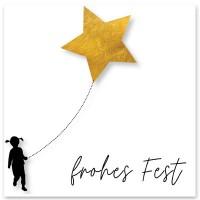 """Schmuckkarte """"Frohes Fest"""", weiß mit Stern, quadratisch, Größe 8,5 x 8,5 cm"""