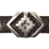 Metallperle Mini-Slider Ethno-Raute, versilbert, ca. 11,5 x 7,5 mm