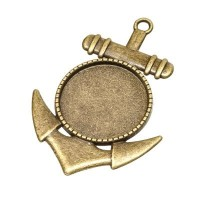 Anhänger/Fassung für Cabochons Anker, 20 mm, antik bronzefarben