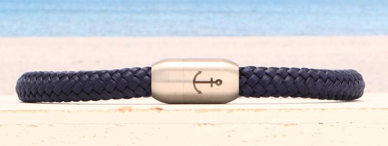Armband mit Segelseil 6 mm und Magnetverschluss aus Edelstahl Anker einfach