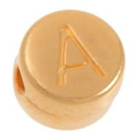 Metallperle, A Buchstabe, rund, Durchmesser 7 mm, vergoldet