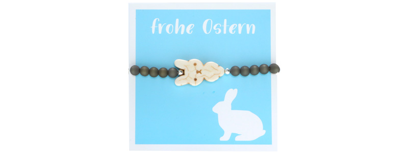 Osterschmuck Armband Hase hellblau