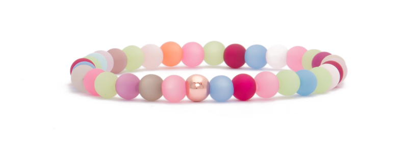 Armband mit rosevergoldeten Perlen bunte Kugeln