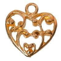 Metallanhänger Herz, 17 x 16 mm, vergoldet