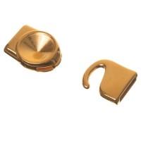 Hakenverschluss, Fassung für Rivoli 12 mm, 32 x 15 mm, vergoldet