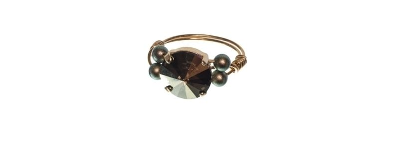 Goldige Ringe mit Swarovski Rivoli Green