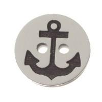 Verschluss Knopfperle Anker, 13 mm, schwarz-weiß