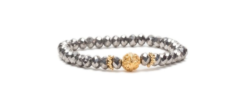 Armband mit Glasfacettrondellen Metallic Platinum