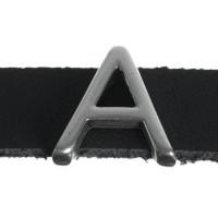 """Metallperle Slider / Schiebeperle Buchstabe """"A"""", versilbert, ca. 13 x 13,7  mm"""
