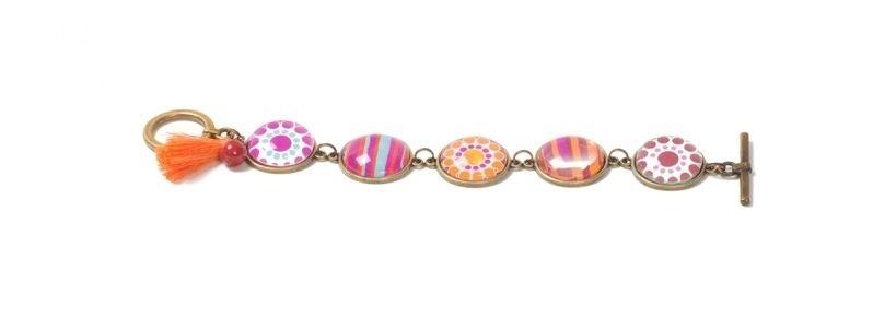 Boho-Armband mit Glascabochons Rot