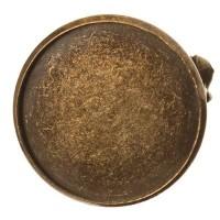 Brosche mit Schale für runde Cabochons 20 mm, bronzefarben