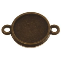 Anhänger/Fassung für Cabochons, rund 12 mm, beidseitig, 2 Ösen, antik bronzefarben