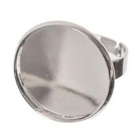 Fingerring mit Fassung für runde Cabochons 20 mm, silberfarben, Ringschiene verstellbar