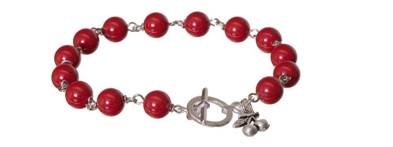 Armband mit Crystal Pearls Red Coral