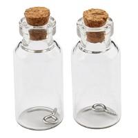 Mini Glasflaschen, 40 x 18 mm, mit Korkenverschluss und Aufhängeöse, 2 Stück