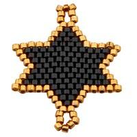 Handgefädeltes Ornament aus japanischen Rocailles, Armbandverbinder Stern, scharz und goldfarben, 31