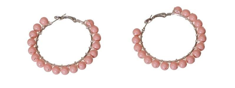 Creolen mit Crystal Pearls Pink Coral