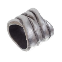 Metallperle mit Großloch, Röhre, 11 mm, versilbert