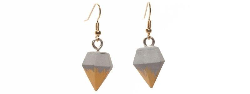 Beton Style -Ohrhänger Diamant Goldfarben
