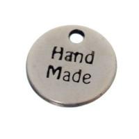 "Metallanhänger, rund, 13 mm, ""handmade"", versilbert"