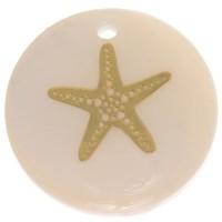 Perlmutt Anhänger, rund, Motiv Seestern goldfarben, Durchmesser 16 mm