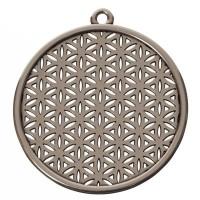 Metallanhänger Blume des Lebens, Durchmesser 45 mm, versilbert