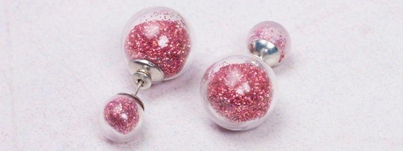 Ohrringe mit Glaskugeln Roter Glitzer