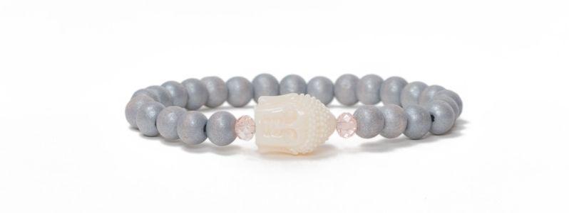 Armband Holzperlen Grau Buddha
