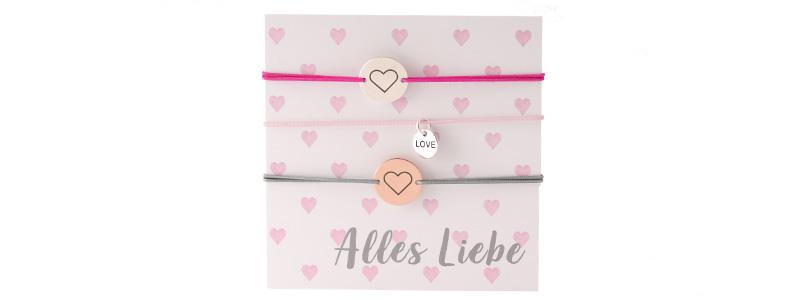"""Set Armbänder mit Coins """"Alles Liebe"""""""