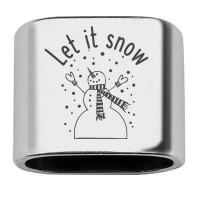 """Zwischenstück mit Gravur """"Let it snow"""", 20 x 24 mm, versilbert, geeignet für 10 mm Segelseil"""