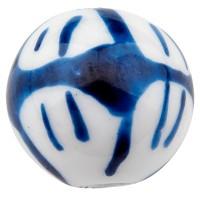 Porzellanperle, Kugel, blau und weiß gemustert, Durchmesser 12 mm
