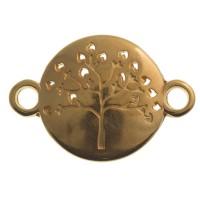 Armbandverbinder Baum, 23 x 16 mm, vergoldet