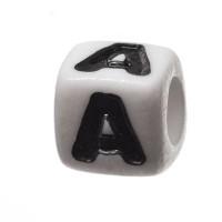 Kunststoffperle Buchstabe A, Würfel, 7 x 7 mm, weiß mit schwarzer Schrift