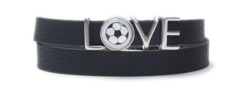 Wickelarmband Fußball Love Schwarz