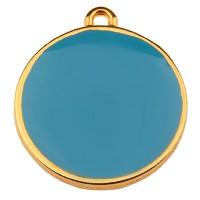 Metallanhänger Rund, Durchmesser 19 mm, himmelblau emailliert, vergoldet