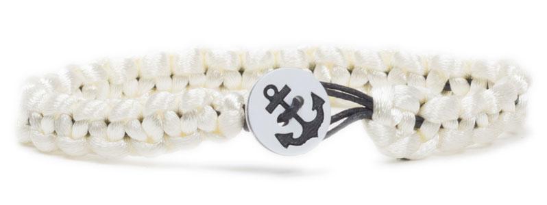 Anker-Knopfarmband Weiß