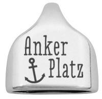 """Endkappe mit Gravur """"Ankerplatz"""", 22,5 x 23 mm, versilbert, geeignet für 10 mm Segelseil"""
