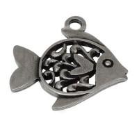Metallannhänger Fisch, ca. 32 mm,versilbert