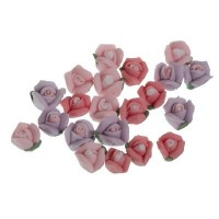 Blumen aus Polymer Clay, 5 x 3 mm, 21 Stück, Rosatöne, Filler für Glaskugeln