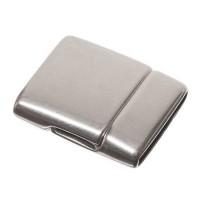Magnetverschluss, viereckig, für breite Bänder (15 x 2 mm), versilbert