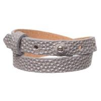 Milano Glam Lederarmband für Sliderperlen, Breite 10 mm, Länge 39 - 40 cm, neutral gray mit metallic
