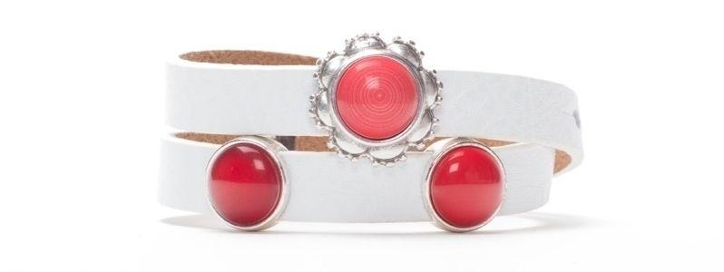 Armband Flame Scarlet mit Slidern und Polariscabochons doppelt