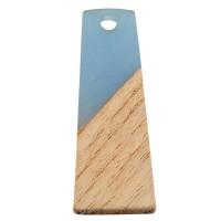 Anhänger aus Holz und Resin, Trapez, 30,0 x 12,0 x 3,0 mm, Öse 2,0 mm, hellblau