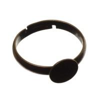 Ringschiene mit Klebefläche für Cabochons, Ringinnendurchmesser 17 mm, verstellbar, bronzefarben