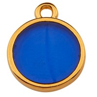 Metallanhänger Rund, 11,5 mm,  Vitraux, Glasfarbe: dunkelblau, vergoldet