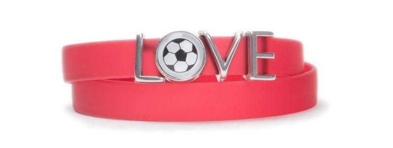Wickelarmband Fußball Love Rot