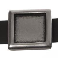 Fassung Slider / Schiebeperle für eckige Cabochons 12 mm, versilbert